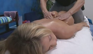 Stroking beauty's luscious twat turns her into a wanton bitch