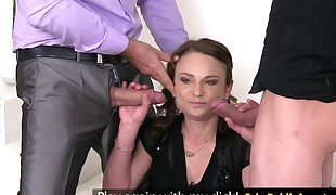 Audition euro babe jizzed after dual suck off