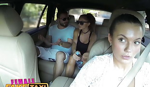 FemaleFakeTaxi Black-haired cabbie fucked rear end fashion
