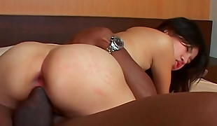 Little asian lobe big black cock