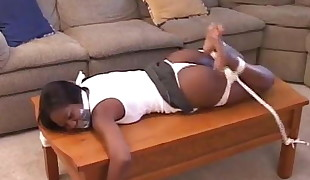 Ebony roped up and humiliated
