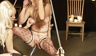 Goddess Starla has Peach in elaborate Shibari rope bondage