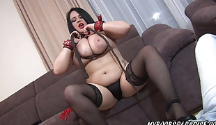 Busty Katie Dark-hued dominate you and give you instruction
