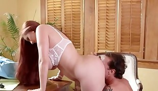 hot big-chested secretary getting fucked in the office by her boss