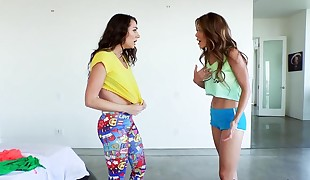Super hot lesbian babes Ayumi Anime and Lily Adams scissoring