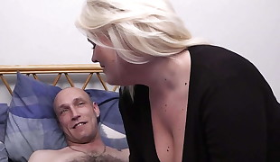 Blonde bbw inhales and rides his horny cock