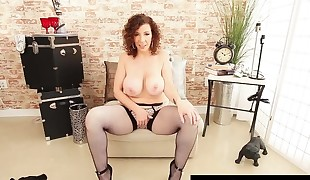 Kinky  Milf Sara Jay Dildo Bangs In Fishnets &, High Heels